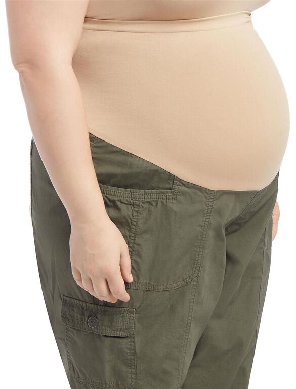 Plus Size Straight Leg Maternity Crop Pants, Pale Stone
