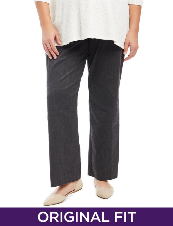 Plus Size Secret Fit Belly Twill Maternity Pants, Grey