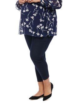 Plus Size Maternity Skinny Crop Jeans, Dark Wash