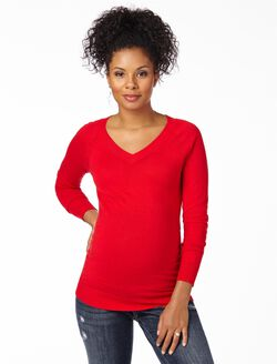 Side Ruched Maternity Sweater, Barbados Cherry