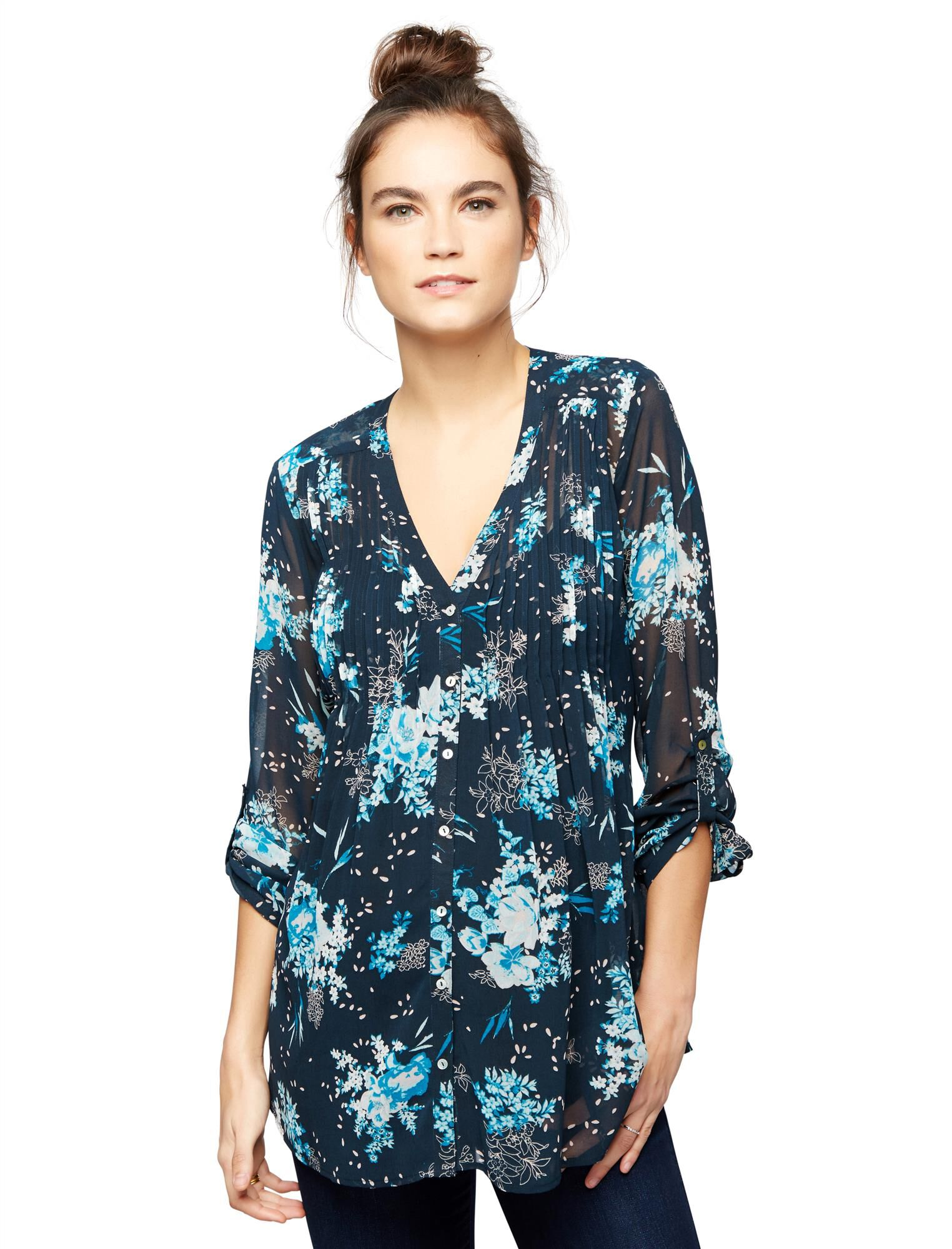 3/4 Sleeve Floral Maternity Blouse- Prints