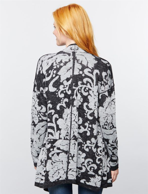 Floral Jacquard Maternity Cardigan, Light-mid Gray