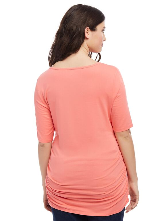 Plus Size Side Ruched Maternity Tee- Tea Rose Coral, Tea Rose Coral