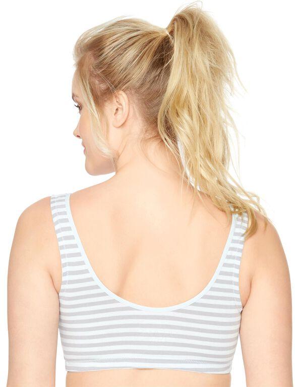 Wrap Nursing Sleep Bra (2 Pack), Grey Stripe/Blue