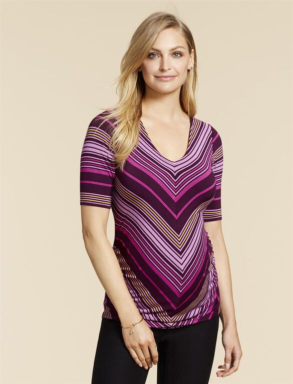 Jessica Simpson Knot Back Maternity Top, Purple Stripe
