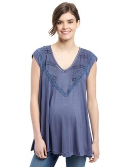 Wendy Bellissimo Lace Trim Maternity Top, Nightshadow Blue