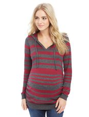 Side Ruched Maternity Hoodie, Charcoal/Red