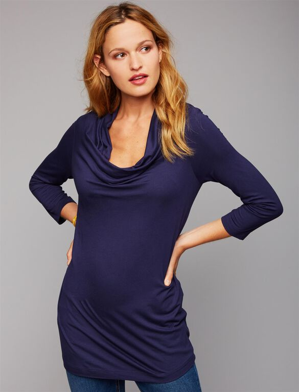 Pull Down Drape Front Nursing Top, Essential Navy