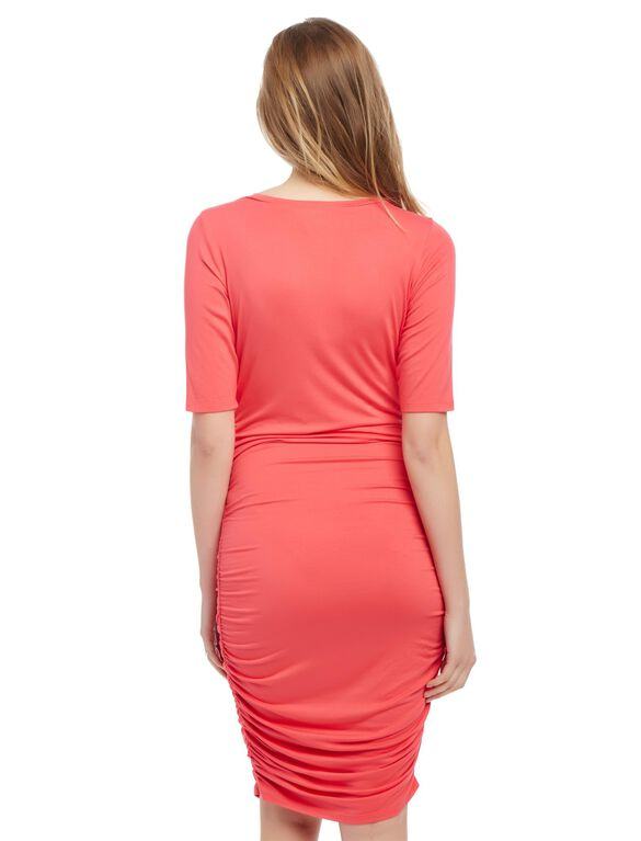 Side Ruched Maternity Dress- Solid, Teaberry