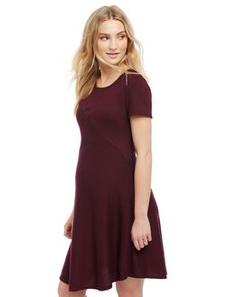 Rib Knit Fit and Flare Maternity Dress, Burgundy