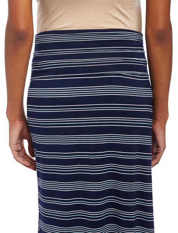 Fold Over Belly Front Slit Maternity Maxi Skirt, Navy/White Stripe