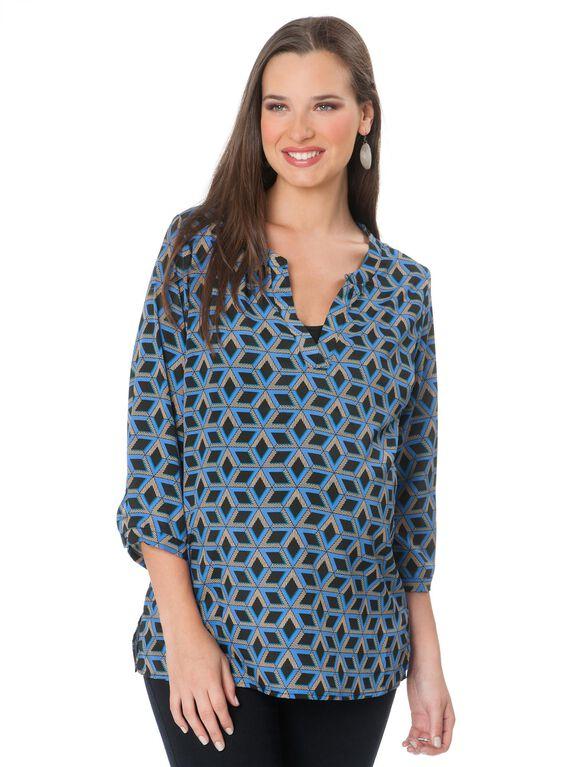 Maternity Blouse, Blue/Black Geo Print