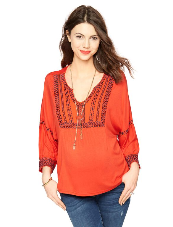 Embroidery Maternity T Shirt, Red/Navy