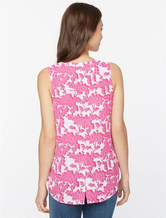 Daniel Rainn Pleated Maternity Blouse- Pink/White Floral, Pink/White Print