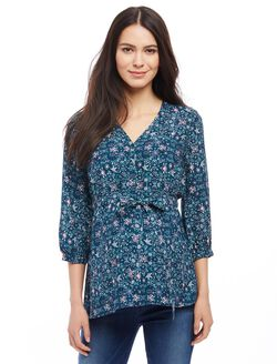 Button Detail Maternity Blouse, Teal Print