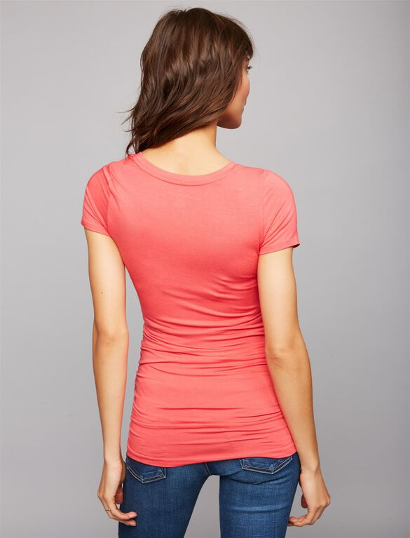 V Scoop Neck Side Ruched Maternity Tee- Solid, Geranium Pink