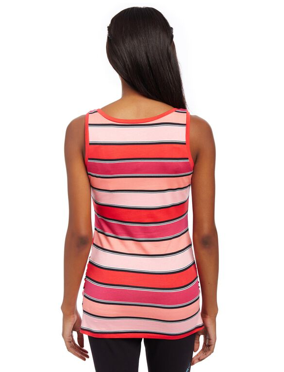 Side Ruched Scoop Neck Maternity Tank Top, Pink Stripe