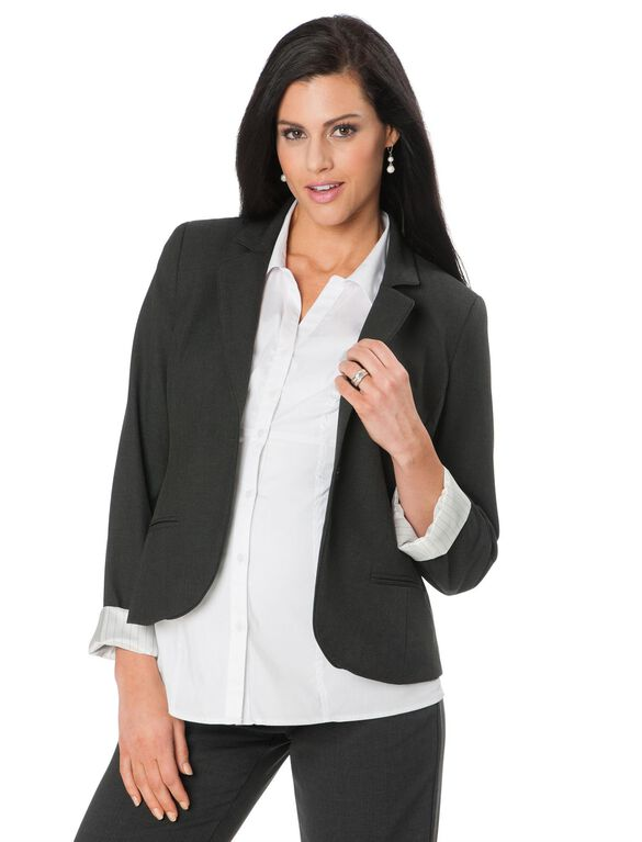 Front Slash Pockets Bi-stretch Suiting Maternity Jacket, Grey