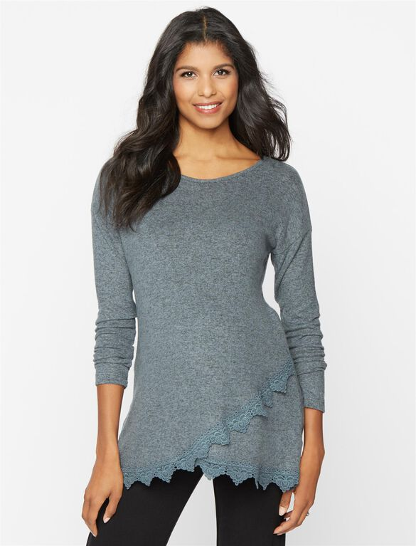 Lace Trim Maternity Sweatshirt, Moss