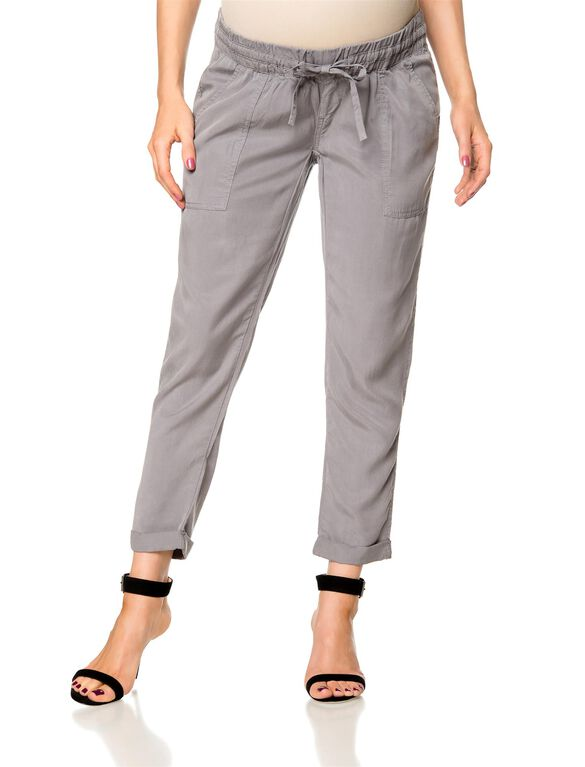 Pull On Style Cotton Woven Straight Leg Maternity Pants, Grey
