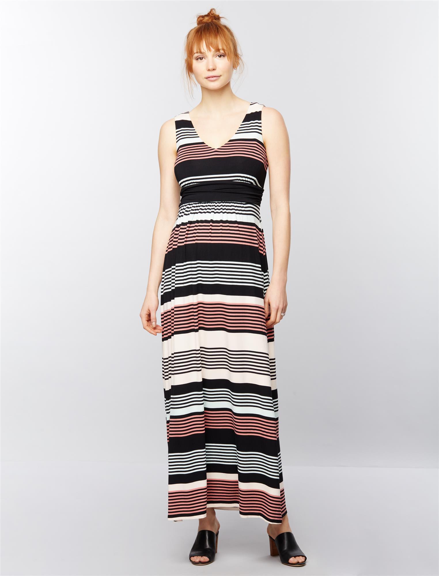Sleeveless Ruched Waist Maternity Maxi Dress- Stripe