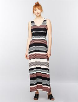 Sleeveless Ruched Waist Maternity Maxi Dress- Stripe, Black/White Stripe