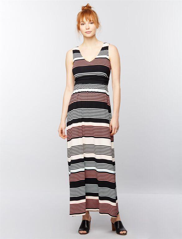 Sleeveless Ruched Waist Maternity Maxi Dress- Stripe, Black/White Stripe
