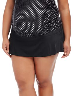 Plus Size Skirted Maternity Swim Bottom, Black