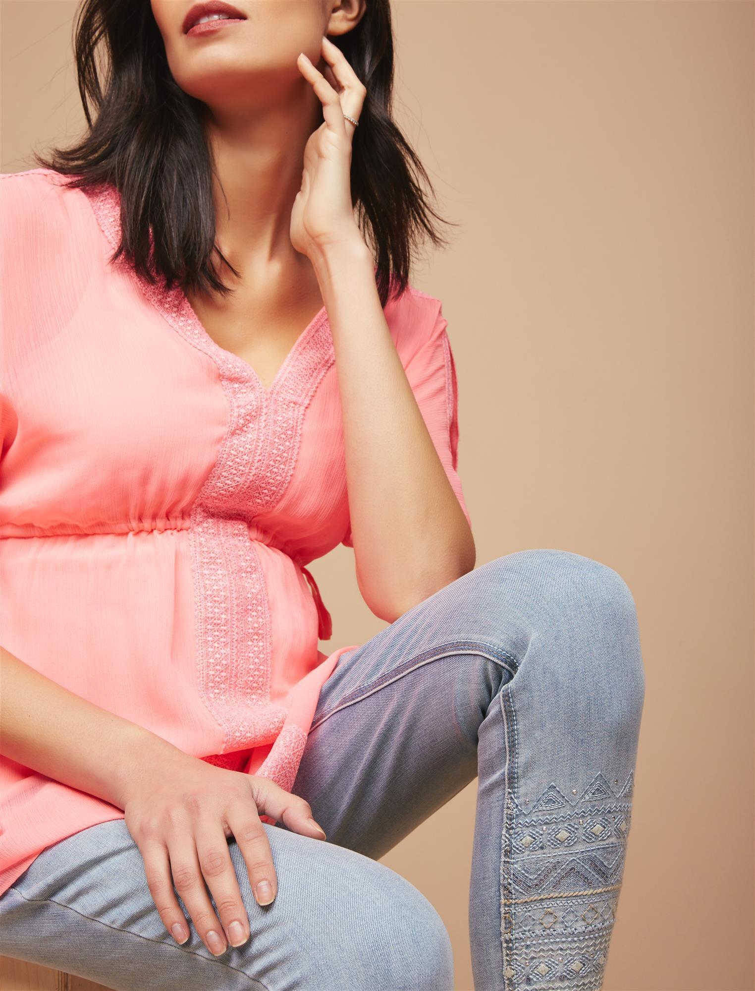 Secret Fit Belly Embellished Maternity Crop Jeans