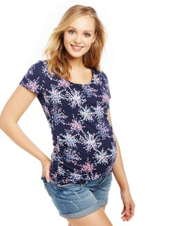 Side Ruched Maternity Tee, Navy Confetti Print