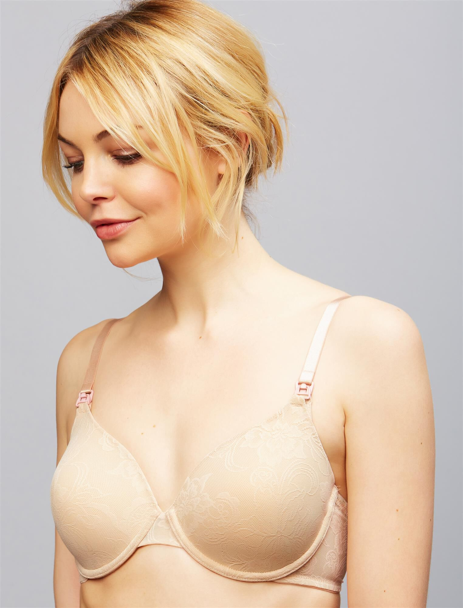 Natori Private Luxuries Full Coverage Lace Nursing Bra- Nude
