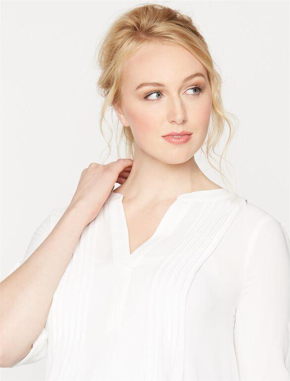 BCBGMAXAZRIA Pleated Maternity Blouse, White