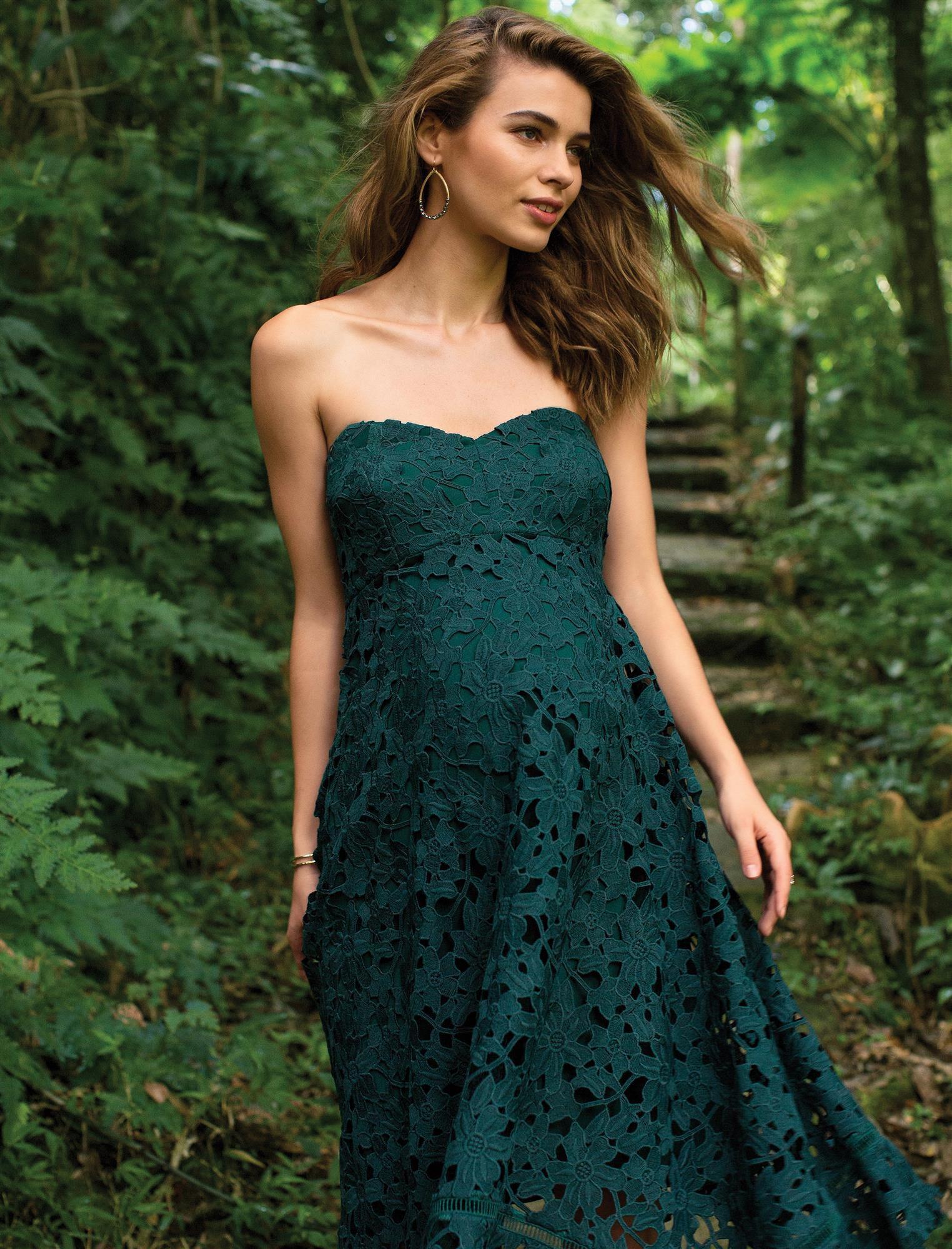 Lace Hanky Hem Maternity Dress