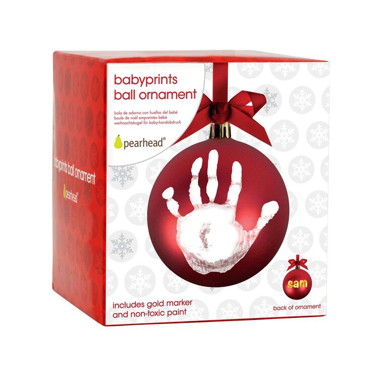Pearhead Babyprints Red Ball Ornament, Baby Prints Ornament