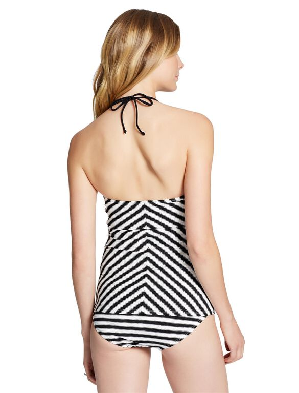 Jessica Simpson Striped Maternity Tankini Swimsuit, Black/White