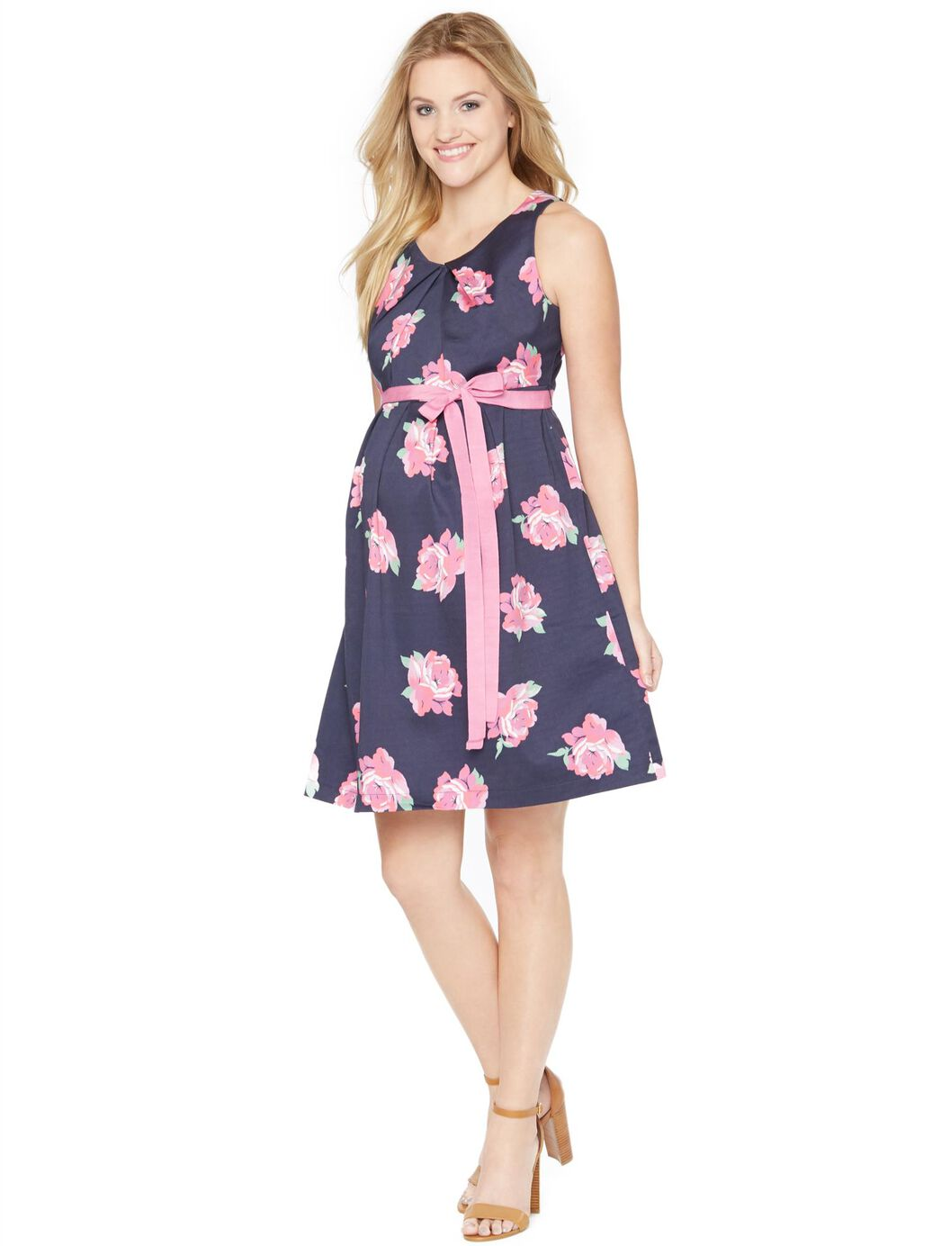 Sateen maternity dress navypink floral motherhood maternity sateen maternity dress navypink floral navypink floral ombrellifo Image collections