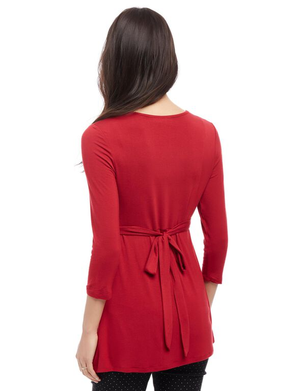 Embellished Maternity Shirt, Red