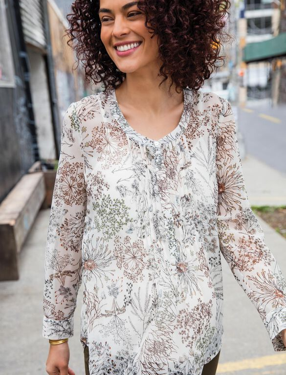 Pleated Maternity Blouse, Cream Floral Print