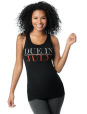 Due in July Maternity Graphic Tank Top, Ruby Glitter
