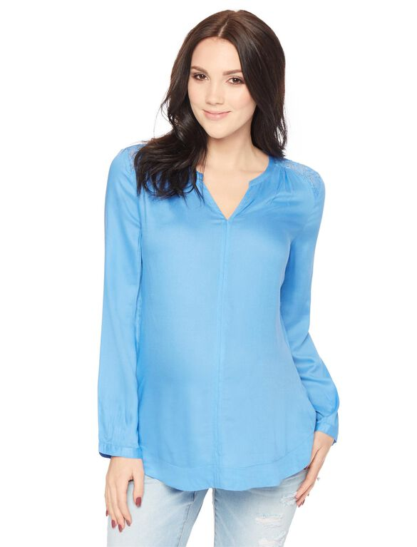 Tie Front Maternity Blouse, Blue