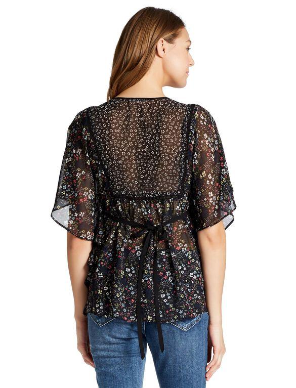 Jessica Simpson Tie Front Maternity Blouse, Black Floral Print