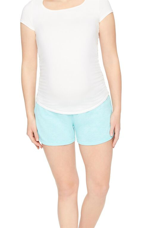 Under Belly French Terry Maternity Shorts- Solid, Aruba Blue