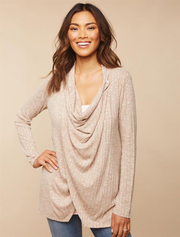 Pull Over 2 Button Closure Nursing Cardigan, Oat