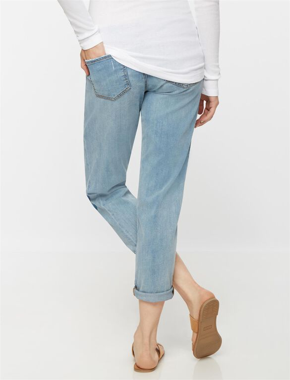 Luxe Essentials Denim Secret Fit Belly Patchwork Maternity Boyfriend Jeans, Light Wash