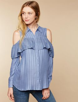Cold Shoulder Maternity Blouse, Blue Stripe