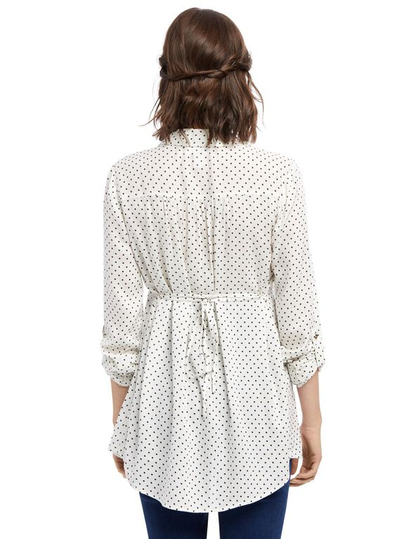 Front Pocket Maternity Shirt- Dot Print, Cream/Black Dot