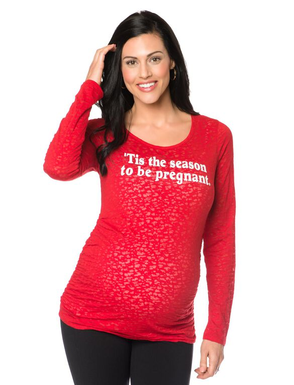 Screen Print Long Sleeve Maternity Graphic Tee, Red