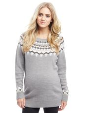 Fairisle Maternity Sweater, Grey Mist