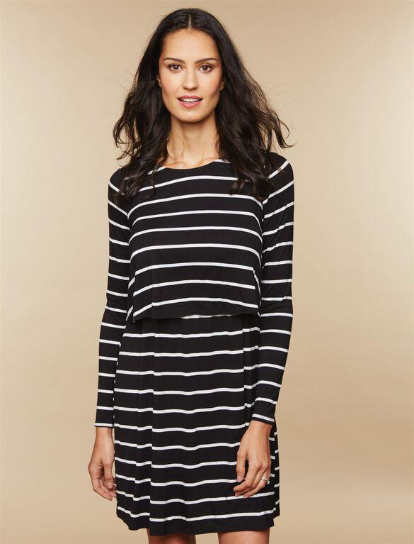 Lift Up Tiered Nursing Dress, Black White Stripe