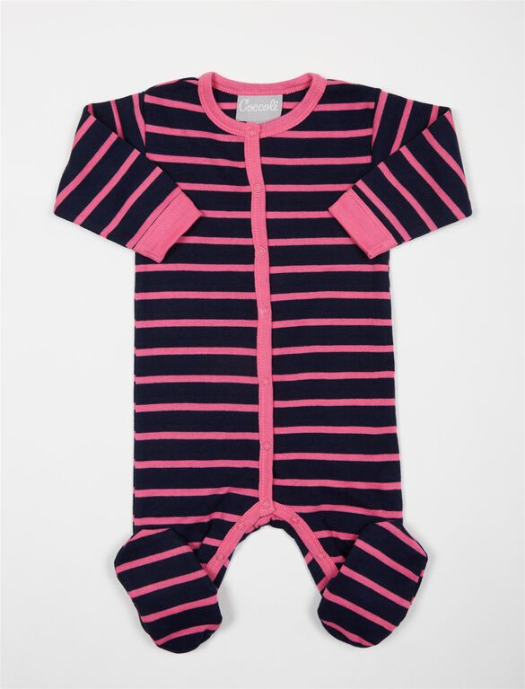 Striped Baby Footie, Nvy/Pnk